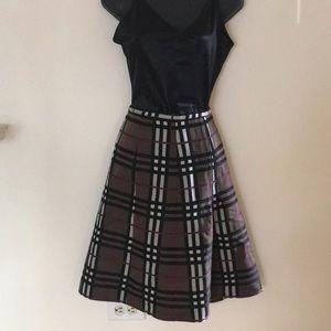Burberry Brown/Black/Purple/Burgandy Plaid Skirt.